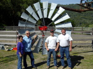 Happy people in front of windmill