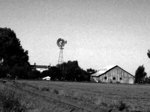 Old Chicago Windmill and Barn